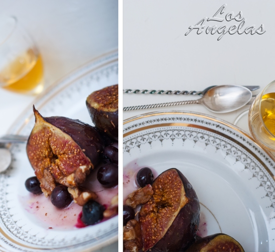 Figs with berries, walnuts and honey